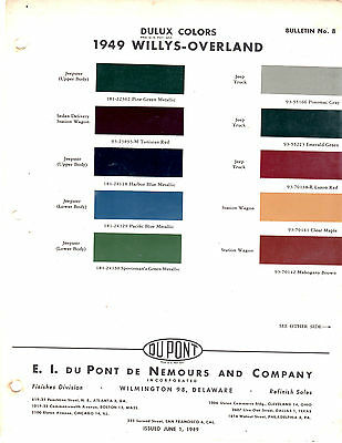 1946 1947 1948 1949 1950 Willys Jeep Cj2A 3A Wagon Jeepster Paint Chips Dupont49