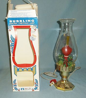 Vintage Bubbling Electric Christmas Hurricane Lamp In Box Works