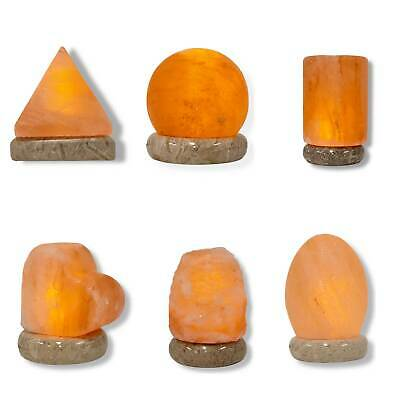 HIMALAYAN SALT LAMP CARVED SHAPE USB Natural Pink Pure Crystal Rock MANY SHAPES