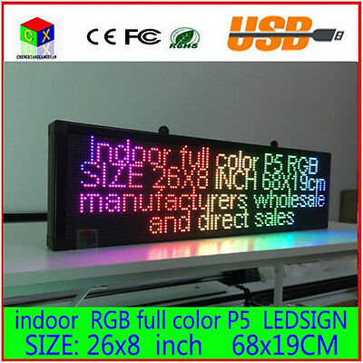 26X8 inch P5 indoor full color LED display scrolling text led sign