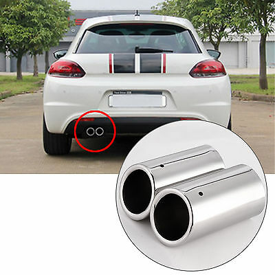 2X Stainless Steel Exhaust Tail Muffler Tip Pipe For Vw Golf 6 Mk6 2008-2012