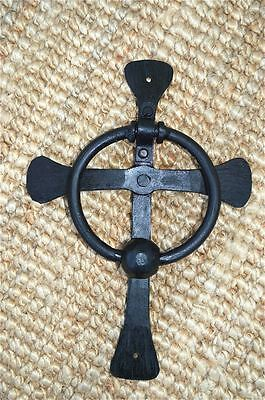 Hand wrought iron Celtic cross door knocker ancient church doorknocker