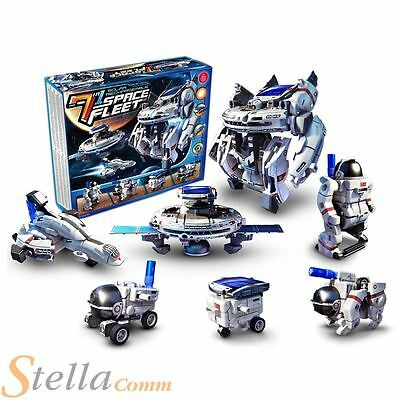 7 in 1 Rechargeable Educational Solar Robot Panel Space Fleet Model Toy Gift