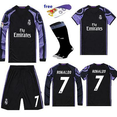 Newest Long Short Sleeve Jersey Football Soccer Black Away Kit Kids 3-14Y Youth