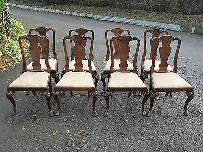 Set of 8 Queen Ann Walnut Dining Chairs