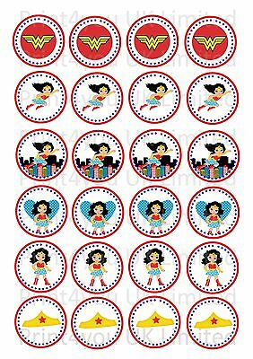 24 Edible cake toppers decorations ND1 Wonder Woman Super Hero Girls