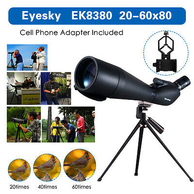 Spotting Scope Angled Waterproof Hunting 20-60x80 w/Phone Adaptor Outdoor Tripod