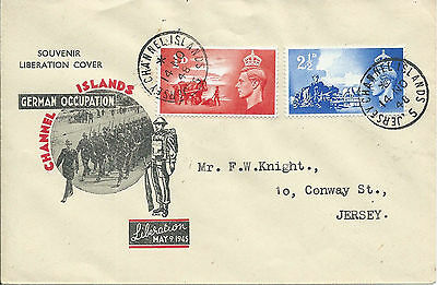 GB Jersey 1948 CI Liberation Set (2) on Souvenir Liberation Illustrated Cover