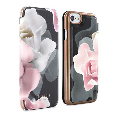 OFFICIAL Ted Baker Womens Folio Case for Smartphones with Porcelain Rose Black