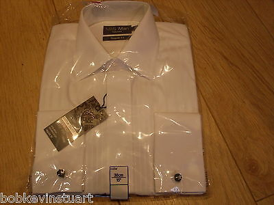 "M & S Mens Dress/formal/wedding Shirt + Cufflinks - White - Collar 15"" - Bnwt"