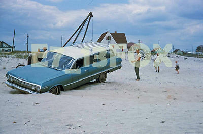 "1963 Blue Chevrolet Impala Station Wagon on Beach 5""x7"" Photo from July 64 slide"