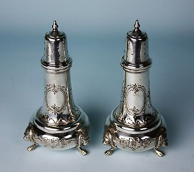 Baldwin & Miller Newark Nj Rare Antique Sterling Silver Salt And Pepper Shakers