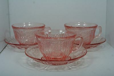 Federal Glass Sharon Cabbage Rose Pink - Set of 3 - Cups & Saucers