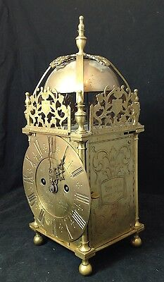 18thc 1735 JN'o Mears Brass Lantern Clock Double Fusee Striking Movement 41cm