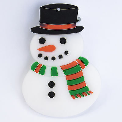 Snowman Christmas Flashing LED Light Up Badge Brooch Pins Party Favours favors