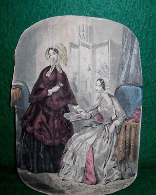 Antique Fashion Plate- Two Women