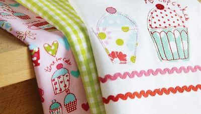 Cupcakes Cooksmart Applique Gingham Three Pack Tea Towel Set~Cotton~Free Pp Uk