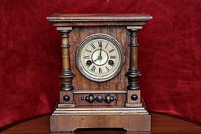 Antique Art Deco German 'HAC' Mantel Oak Clock with Chimes & Key