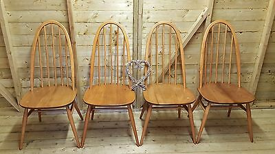 Four Ercol Windsor Quaker Dining Chairs Elm Blonde 1960 Model 365