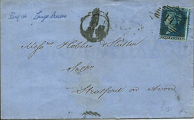 GB 1857 2d Blue (SG34) Wrapper from London to Stratford on Avon