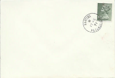 GB 1971 3.1/2p Unaddressed Cover with Harting Petersfield Cancel During Strike