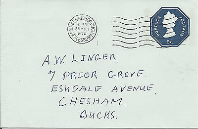 GB 1970 5d Blue P/S Cover with Princes Risborough Aylesbury CDS to Chesham