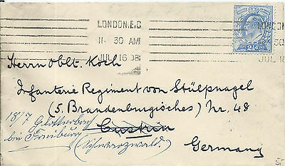 GB 1908 2.1/2d Blue Cover with London EC Krag Machine Cancel to Germany