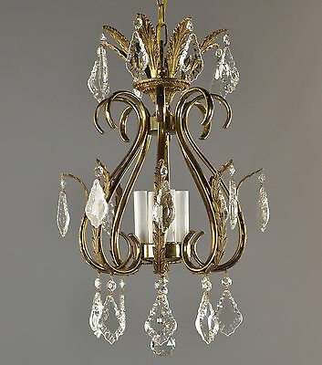 Italian Brass & Crystal Chandelier c1950 Vintage Antique Glass Gold Hanging