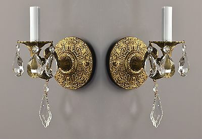 Italian Brass & Crystal Sconces c1950 Vintage Antique Ornate Gold Gilt French St