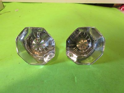 1950's Old Antique 8 Point Clear Glass Door Knob Handle Brass 2pcs.(PS6B)