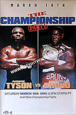 MIKE TYSON  vs  FRANK BRUNO  2 / Original Don King PPV Boxing Fight Poster