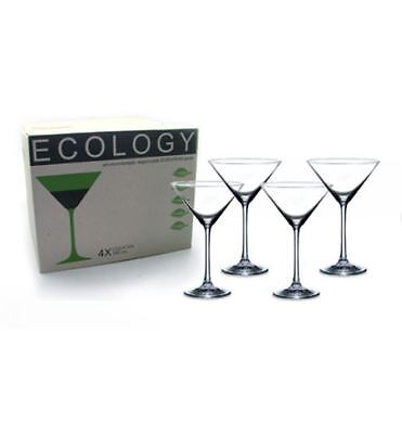 NEW ECOLOGY COCKTAIL GLASSES 280ml SET OF 4 GLASS GLASSWARE DRINKS DRINKING BAR
