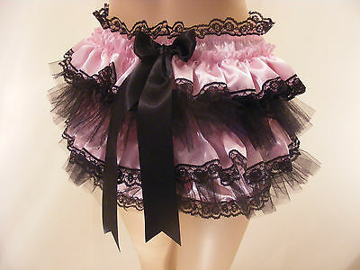 Adult Baby Sissy Pink/Blk Satin Frilly Diaper Cover Panties Fancydress Cosplay