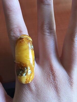 ANTIQUE 100% Natural Butterscotch Amber Nugget Ring
