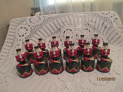 12 Nutcracker Soldiers Standing on Drums / Drums Open  Perfect Condition