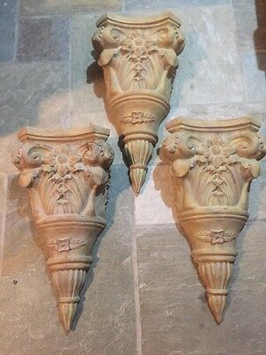Three Wall Sconces Decorative Ornate scroll work gorgeous light weight