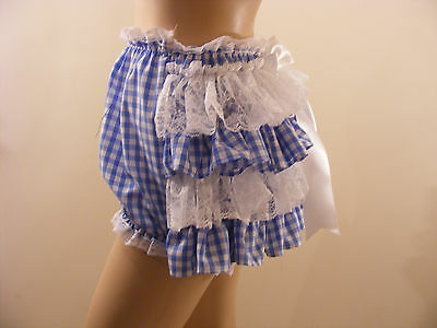 Blue Gingham Lace Frilly Sissy Adult Baby Panties Diaper Cover Waterproof Option