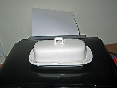 """8 1/4"""" Milk Glass Butter Dish w/ Cover"""