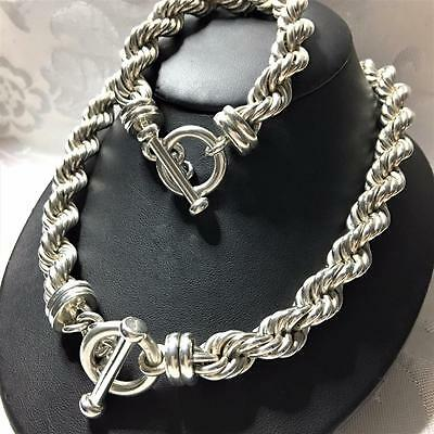 STERLING SILVER TAS Rope Necklace Bracelet Set TOP QUALITY Chunky VHEAVY HM 275g