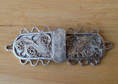 Antique Silver Belt Buckle - Filagree Decoration - Collectable