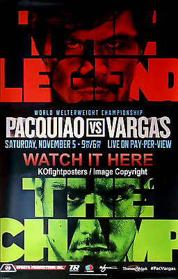 MANNY PACQUIAO vs. JESSIE VARGAS / Original Full-Size TOP RANK PPV Boxing Poster