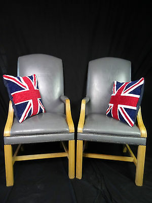 Pair Antique Regency Gainsborough Style Leather High Back Office Armchairs