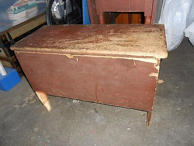 Antique 19th C. Six Board Blanket Box in Old Red Paint, leather hinges, and lock