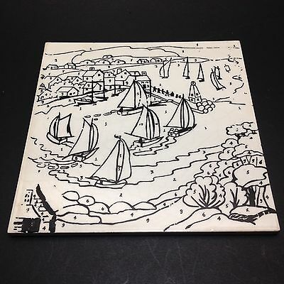Vintage Thynne England Tile Paint by Number A Busy Coastal Settlement