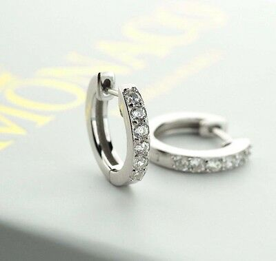 GORGEOUS 925 Sterling Silver Round CZ Hoop Earrings Womens Bridal Jewellery Gift