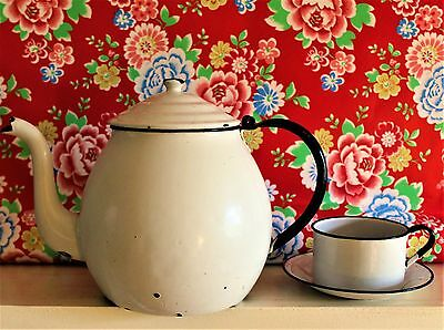 Large Gooseneck White Enamel Teapot with Cup and Saucer