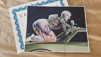 Miley Cyrus signed 8.5x11 photo autographed coa proof