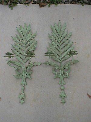 """2 Vintage Mid-Century Distressed Green Medal Wall Sconces Candle Holders 31"""" T"""