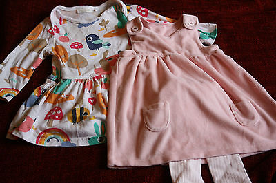 Next baby girls dress 3-6 months M&S pink velvetine with tights christmas party