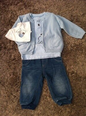 Name It Baby Boy Jeans Top Bib And Cardigan 4-6 Months